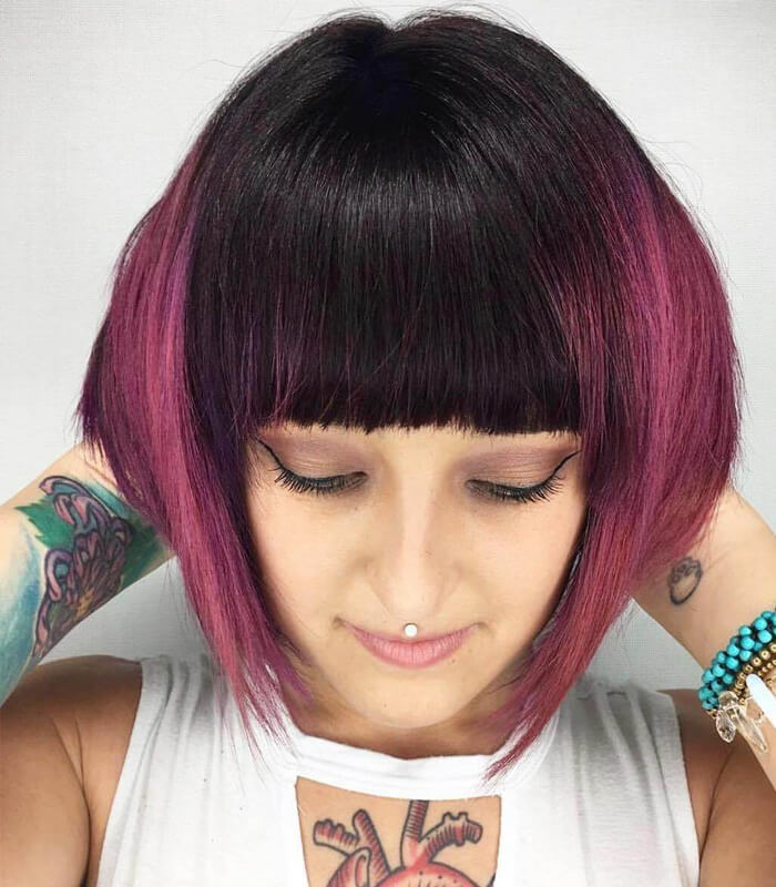 Pink Bangs Covering the Half Side